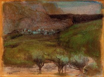 Edgar Degas : Olive Trees against a Mountainous Background