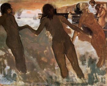 Edgar Degas : Peasant Girls Bathing in the Sea at Dusk