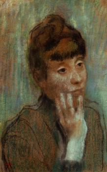 Edgar Degas : Portrait of a Woman Wearing a Green Blouse