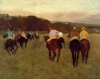 Edgar Degas : Racehorses at Longchamp