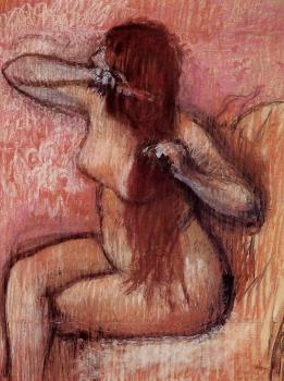 Edgar Degas : Seated Nude Combing Her Hair