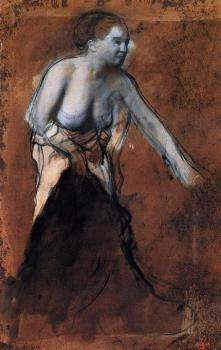 Edgar Degas : Standing Female Figure with Bared Torso