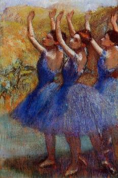 Three Dancers in Purple Skirts