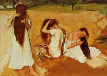 Three Women Combing Their Hair