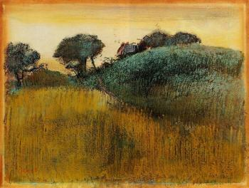 Edgar Degas : Wheatfield and Green Hill