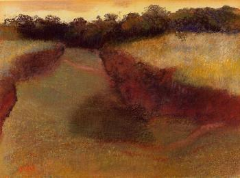 Edgar Degas : Wheatfield and Line of Trees