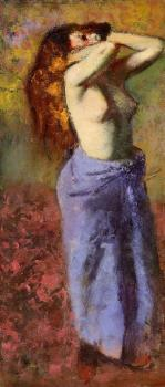 Edgar Degas : Woman in a Blue Dressing Gown, Torso Exposed