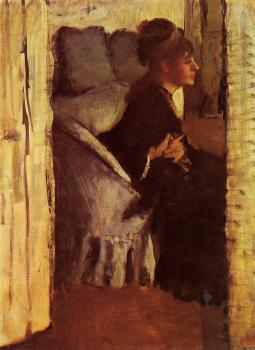 Edgar Degas : Woman Putting on Her Gloves