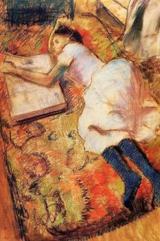 Edgar Degas : Young Girl Reading on the Floor