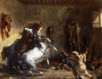 Eugene Delacroix : Arab Horses Fighting in a Stable