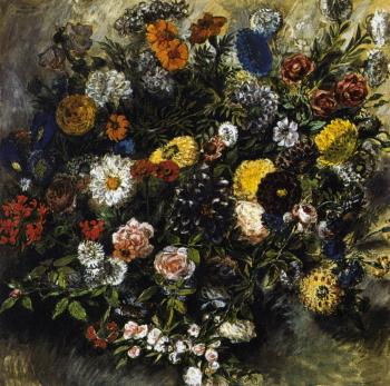 Eugene Delacroix : Bouquet of Flowers