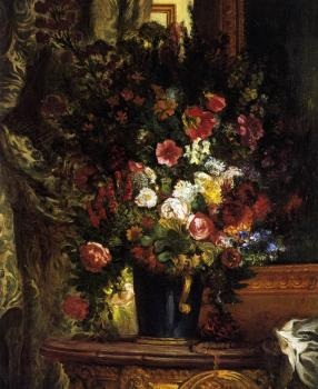 Eugene Delacroix : A Vase of Flowers on a Console