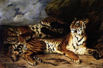 Eugene Delacroix : A Young Tiger Playing with its Mother