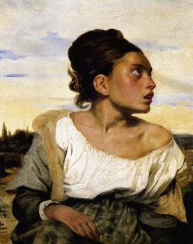Eugene Delacroix : Girl Seated in a Cemetery