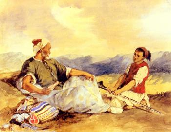 Eugene Delacroix : Two Moroccans Seated In The Countryside