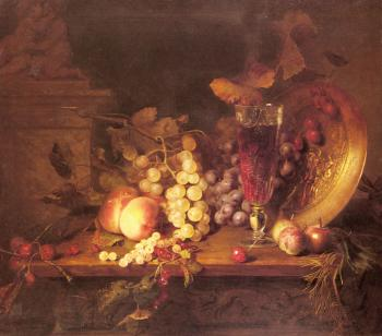 Blaise Alexandre Desgoffe : Still Life with Fruit, a Glass of Wine and a Bronze Vessel