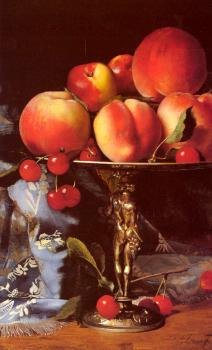 Blaise Alexandre Desgoffe : Still Life with Peaches, Plums and Cherries