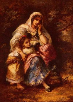 Narcisse-Virgile Diaz De La Pena : Gypsy Mother And Child
