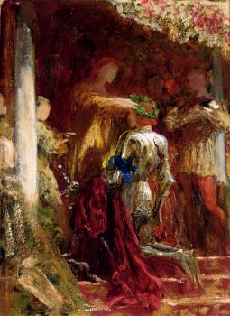 Frank Bernard Dicksee : Victory A Knight Being Crowned With A Laurel Wreath