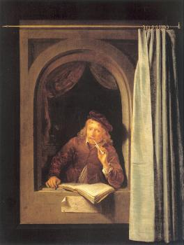 Gerrit Dou : Painter with Pipe and Book