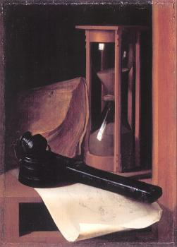 Gerrit Dou : Still Life with Hourglass, Pencase, and Print