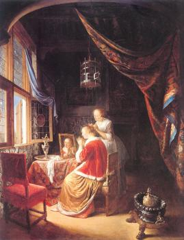Gerrit Dou : Lady at Her Toilet