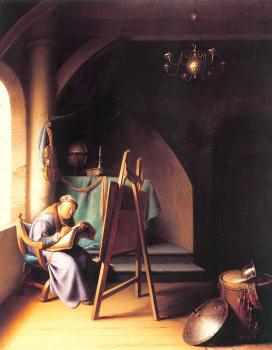 Gerrit Dou : Man Writing by an Easel
