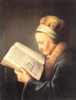 Gerrit Dou : Old Woman Reading