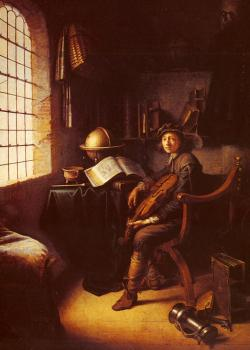 Gerrit Dou : An Interior With A Young Violinist detail