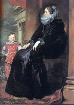 Anthony Van Dyck : Genoese Noblewoman with her Son