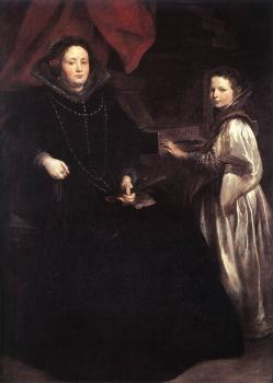Anthony Van Dyck : Portrait of Porzia Imperiale and Her Daughter