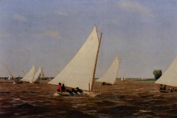 Thomas Eakins : Sailboats Racing on the Delaware