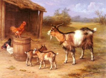 A farmyard Scene With Goats And Chickens
