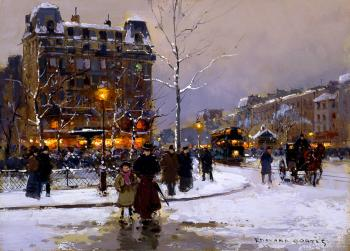 Edouard Cortes : Place Pigalle in Winter