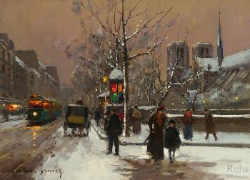 Edouard Cortes : Quai de Montebello, in Winter