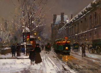 Edouard Cortes : Quai du Louvre in Winter