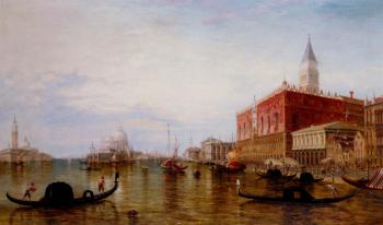 Edward Pritchett : Pollentine Alfred Gondolas On The Grand Canal In Front Of The Doges Palace Venice
