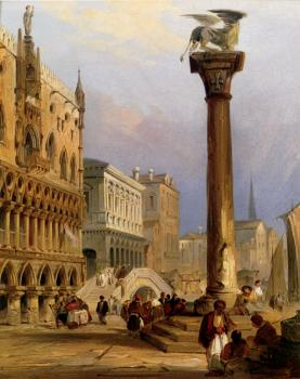 Edward Pritchett : A View Of St Marks Column And The Doges Palace Venice