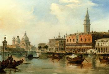 Edward Pritchett : The bacino Venice With The Dogana The salute And The Doges Palace