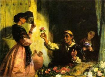 Edwin Longsden Long : A Spanish Flower Seller