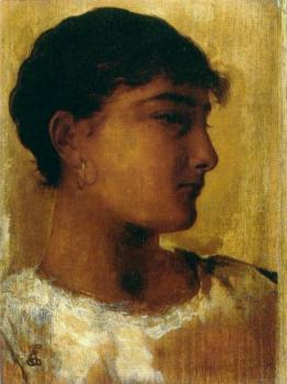 Edwin Longsden Long : Study of a young girls head another view