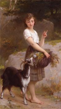 Emile Munier : young girl with goat and flowers