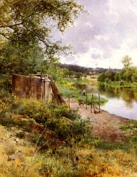 Emilio Sanchez-Perrier : On The River Bank