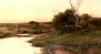 Emilio Sanchez-Perrier : On The River's Edge At Dusk