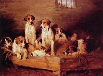 John Emms : Foxhounds and Terriers in a Kennel