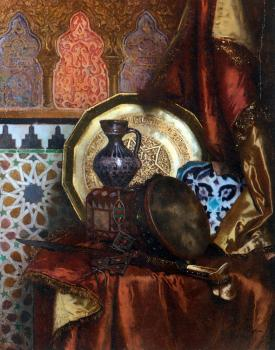 A Tambourine, Knife, Moroccan Tile and Plate on Satin covered Table