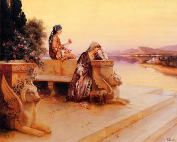 Rudolf Ernst : Elegant Arab Ladies on a Terrace at Sunset