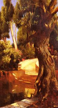 Rudolf Ernst : The Staircase Under The Trees