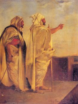 Eugene Fromentin : Two Arabs On A Terrace
