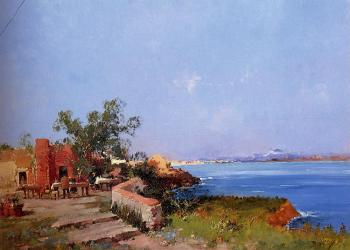 Eugene Galien-Laloue : Lunch On A Terrace With A View Of The Bay Of Naples